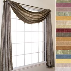 Silkanza Crushed Semi Sheer Voile Scarf Valance and Curtain Panels by Softline