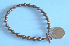 Brown Freshwater Pearl Copper Czech Beaded Bracelet Toggle Clasp CP Art BBBB003 #BusyBeeBumbleBeads #Beaded
