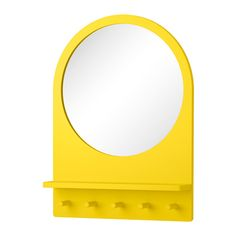 IKEA - New in April 2016: SALTRÖD mirror with a shelf and hooks. Available in yellow and white. Price (in Finland) 49 €.