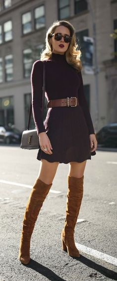 30 DRESSES IN 30 DAYS: Holiday Shopping //  Burgundy turtleneck fit-and-flare sweater dress, floral jacquard longline coat, brown suede over-the-knee boots, brown leather waist belt and a burgundy leather cross body bag {See by Chloe, Smythe, YSL, what to wear shopping, holiday style, festive style, classic style, sweater dress, fashion blogger}