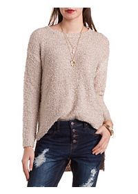 Fuzzy High-Low Tunic Sweater
