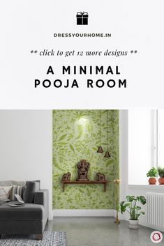 The wallpaper in the background gives it a modern touch for this traditional compact pooja room in a Wallpaper Designs For Walls, Room Wallpaper, Pooja Room Door Design, Wall Design, Ceiling Design, Indian Home Interior, Indian Home Decor, Temple Room, Temple Design For Home