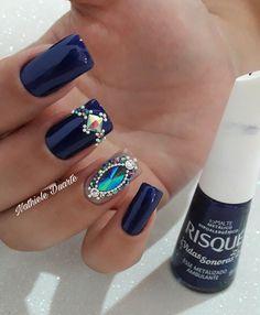 Be true to blue nails . Glam Nails, Bling Nails, Nail Manicure, Toe Nails, Coffin Nails, Acrylic Nails, Nail Polish, Glitter Nails, Blue Nail Designs