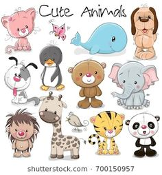 Buy Set of Cute Animals by on GraphicRiver. Set of Cute Animals on a white background Cute Animal Illustration, Cute Animal Drawings, Cute Animals To Draw, Cartoon Drawings Of Animals, Drawing Animals, Cartoon Mignon, Kids Zoo, Owl Kids, Zoo Animals