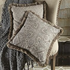 "Arhaus - Frost 20"" Square Blue Paisley Pillow With Fringe"