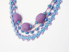 Stackable jewelry Purple lilac blue 3 in 1 crochet by boorashka,