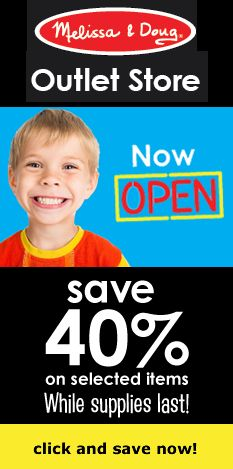 Check out the new #Outlet store from #MelissaAndDoug, where select products are available at 40% off (while supplies last)