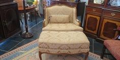 French Chair  Description: 133516 – Gold Upholstered French Chair w/Ottoman  $950.00#antique #vintage #furniture #gifts #art #accessories #homedecor #decorating #Buckhead #Atlanta #consigmentwww.NowandAgain.net