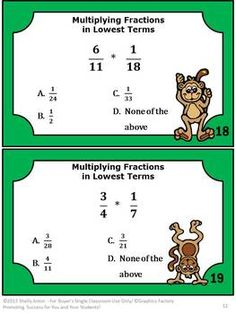 Multiplying Fractions Task Cards --  Task cards are a great way to reinforce math skills while allowing students movement in the classroom. Movement is important for students of all ages! You will receive 26 math task cards focusing on multiplying fractions in lowest terms. You will also receive a student response form and answer key.  Common Core: 5.NF Number and Operations - Fractions Common Core 6.NS The Number System Common Core 7.NS The Number System