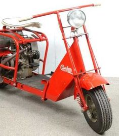 Red painted tubular steel frame with sheet metal fenders, cowl and floor. on Sep 2011 Motor Scooters, Motor Car, Indian Motors, Tubular Steel, New Tyres, Mini Bike, Red Paint, Vintage Motorcycles, Go Kart