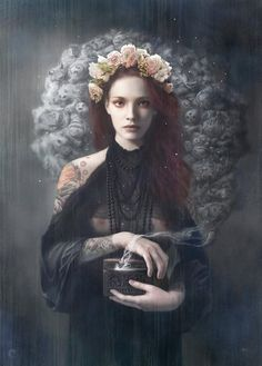 """Pandora by Tom Bagshaw (This reminds me of the """"Pandora"""" painting by Pre-Raphaelite artist, Dante Gabrie Rossetti)"""