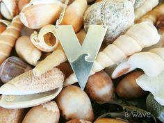 Triangle Pendant Necklace, Wave Pendant Necklace, Sea Charm Necklace, Silver Triangle Necklace, Beach Charm Necklace, Wave Necklace, Unisex by BwaveJewelry on Etsy