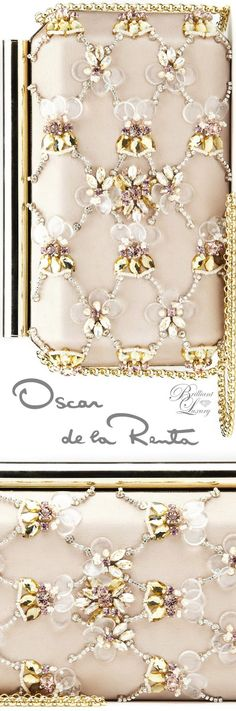 Brilliant Luxury * Oscar de la Renta Bisque Embroidered Satin Saya Minaudière