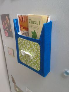 Coupon Holder for the Fridge - Magnetic Menu Holder - green and blue with bow