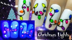 Easy Christmas Lights ⎮ Glow in the Dark Freehand Nail Art Tutorial