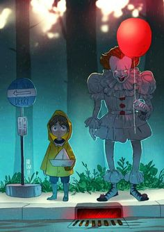 Totoro style Georgie and Pennywise Arte Horror, Horror Art, Scary Movies, Horror Movies, Art It, Adashino Benio, It Movie 2017 Cast, It The Clown Movie, Saint Yves