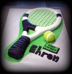 - Hand carved tennis racket, fondant decorations and fondant ball.