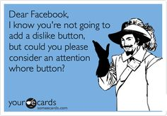 Dear Facebook, I know you're not going to add a dislike button, but could you please consider an attention whore button?