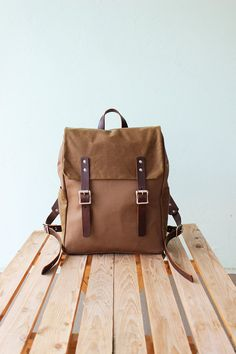 Water Repellent cotton canvas backpack with brown by Phestyn