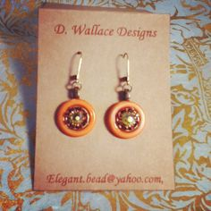 Great color pairing with these orange, pink and lime green antique button earrings!!