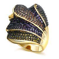 Eu jóias anel de venda quente da moda doces jóias das mulheres fresco banhado a ouro micro pave definir cz anel