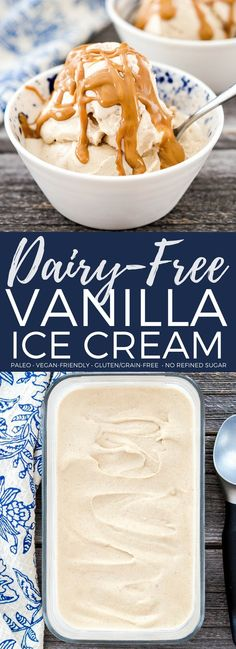 The creamiest homemade dairy-free vanilla ice cream ever! Made with only 5 ingredients and is vegan, paleo, gluten-free & refined sugar free!