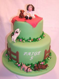 Puppies and girl cake
