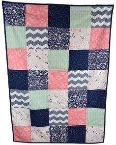 Baby quilt - girl quilt - modern - geometric - triangle - coral - Navy - grey - gray - blue - pink - mint - gold - nursery - Michael Miller - baby bedding - Polka dot - floral - Unicorn - -horse - minky - soft- crib bedding - nursery beding - home and living  https://www.etsy.com/listing/494792584/baby-girl-coral-mint-grey-and-navy-blue?ref=listing-shop-header-0