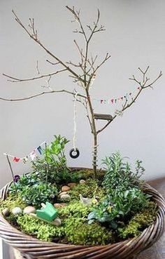 Fairy Garden Ideas: A minimalist tree house miniature garden ideas Indoor Fairy Gardens, Mini Fairy Garden, Miniature Fairy Gardens, Indoor Garden, Outdoor Gardens, Fairies Garden, Gnome Garden, Indoor Plants, Cute Fairy
