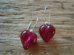 Glass earrings love hearts with sterling silver by AndisJewelry, $35.00