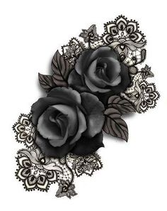 Rose and lace tat .... maybe as cover up for cross...