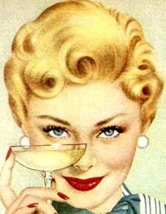 Vintage Happy Housewife with her secret coping mechanism.