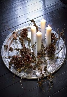 Simple Pine Cones, White and Silver Christmas Decor