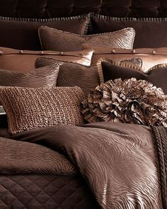 Shades of Brown for Your Bedroom. 'Tigress' Shams & Pillows by Ann Gish at Horchow. Striped Bedding, Silk Bedding, Brown Bedding, Bedding Sets, Brown Pillows, Home Bedroom, Master Bedroom, Bedroom Decor, Bedroom Ideas