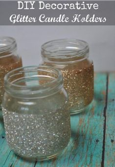 DIY Decorative Glitter Candles made from Baby Food Jars! Glitter Candle Holders, Glitter Mason Jars, Glitter Candles, Mason Jar Candles, Diy Candles, Baby Food Jar Crafts, Mason Jar Crafts, Mason Jar Diy, Baby Jars