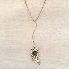 Tibetan Brass Horn Y Necklace