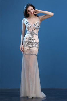 Sexy V Neck Open Back Sheer See Through Champagne Tulle Beaded Evening Prom…