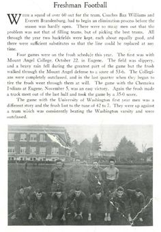 1921-1922 UO freshman football.  From the 1922 Oregana (University of Oregon yearbook).  www.CampusAttic.com