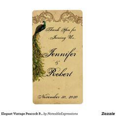 Elegant Vintage Peacock Posh Wedding Wine Label