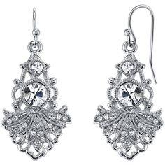 1928 Jewelry Crystal Fan Drop Earrings ($28) ❤ liked on Polyvore featuring jewelry, earrings, womens jewellery, nickel free jewellery, long earrings, 1928 earrings e drop earrings