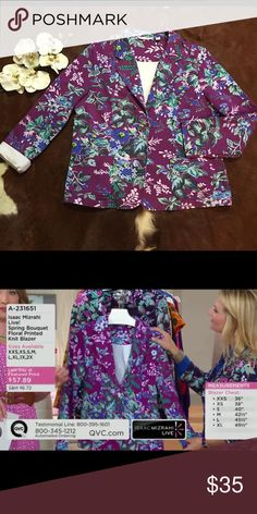 🌸ISAAC MIZRAHI LIVE BLAZER🌸 EXCELLENT LIKE NEW CONDITION !!  Floral foray. This notched-collar blazer boasts a bevy of blooms. Venture into the print trend and look pretty perfect. From Isaac Mizrahi Live!(TM). Floral print, notch collar, princess seams, logo enamel buttons SIZE L(14-16) 95% cotton 5% spandex Isaac Mizrahi Jackets & Coats Blazers