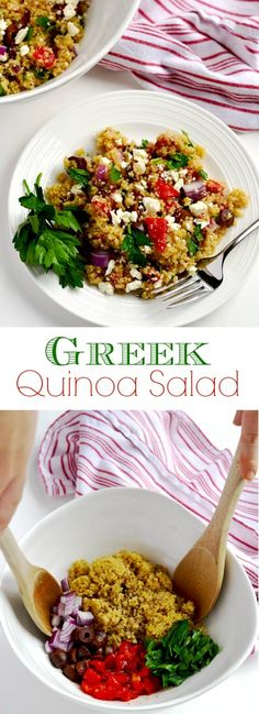 Greek quinoa salad is a simple side dish or vegetarian main dish that is easy, delicious and filling. Made with BobsQuinoa AD | APinchOfHealthy.com