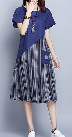 New Women loose fit patchwork stripes pocket dress tunic fashion casual chic - Women Casual Dresses Baggy Dresses, Cotton Dresses, Casual Dresses, Fashion Dresses, Winter Dresses, Casual Outfits, Dress Winter, Casual Shirt, Long Sleeve Tunic Dress
