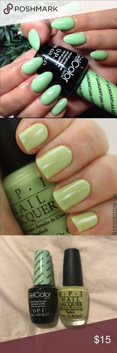 OPI Gargantuan green grape gel and regular polish OPI Gargantuan green grape gel and regular polish set. Both have been used a couple times. The gel polish is actually a different shade than the regular polish. See pics above. I am not sure why the company made the gel polish version darker. If wanting to buy one or the other let me know. Price is firm OPI Other