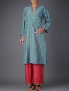 Buy Blue Embroidered Silk Kurta Women Kurtas Rossiya Chanderi tissue pants dupattas and more Online at Jaypore.com