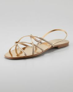Elora Crystal-Detailed Sandal, Gold by Pedro Garcia at Neiman Marcus.
