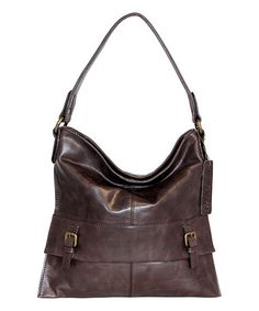 Look what I found on #zulily! Chocolate Leather Orchid Bud Hobo Bag #zulilyfinds