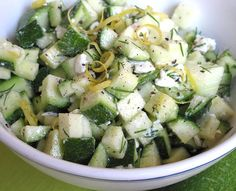 Fresh and healthy Zucchini Salad. With zucchini, crumbled feta, fresh lemon, and dill. Perfect side dish for summer! Zucchini Salad, Healthy Zucchini, Zucchini Cheese, Healthy Eating, Clean Eating, Cooking Recipes, Healthy Recipes, Healthy Foods, Simple Recipes