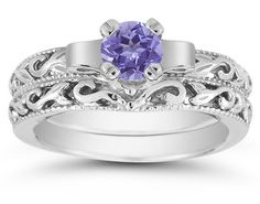 Lesofgold 1 2 Carat Art Deco Tanzanite Bridal Ring Set 14k