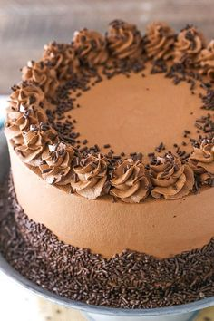 Chocolate Mousse Cake - a moist chocolate cake with silky smooth chocolate mousse! #desserts #chocolate